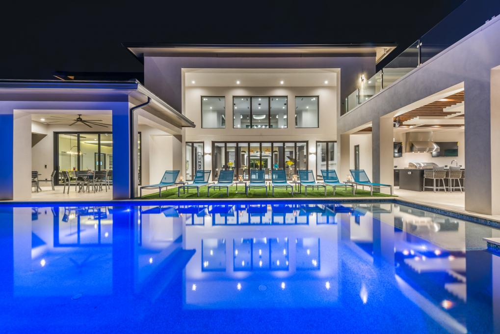 An exterior shot of a Kissimmee Vacation Home in the evening