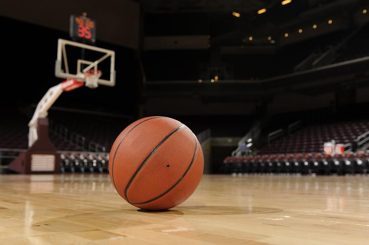 A basketball on the court