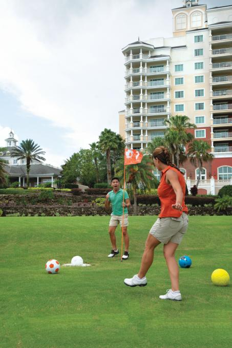 Friends playing foot golf