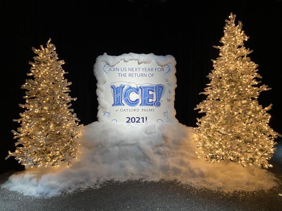 A sign that says ICE! will return to Gaylord Palms next year
