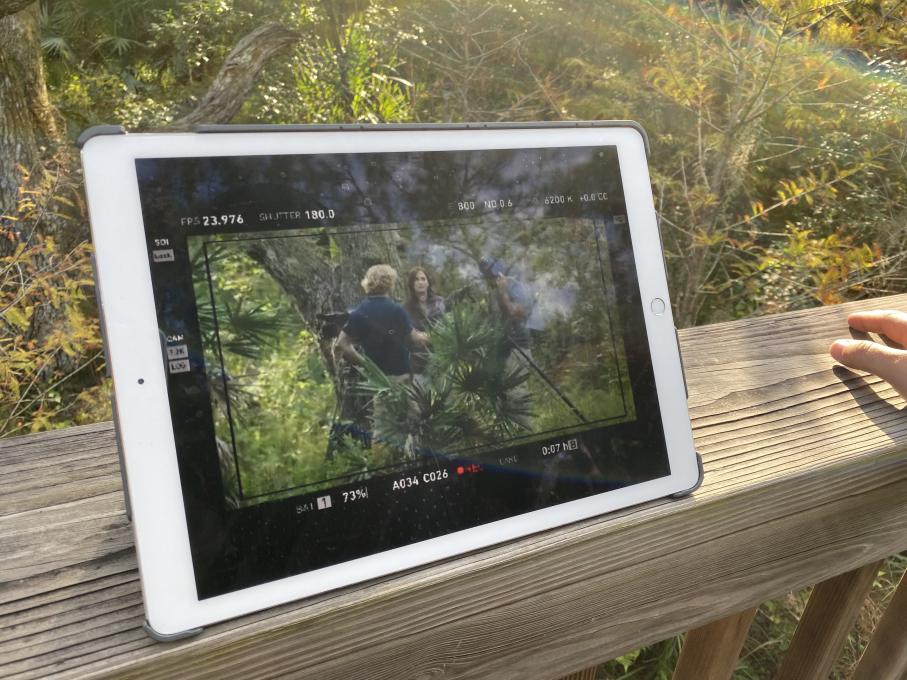 Tablet showing film scene