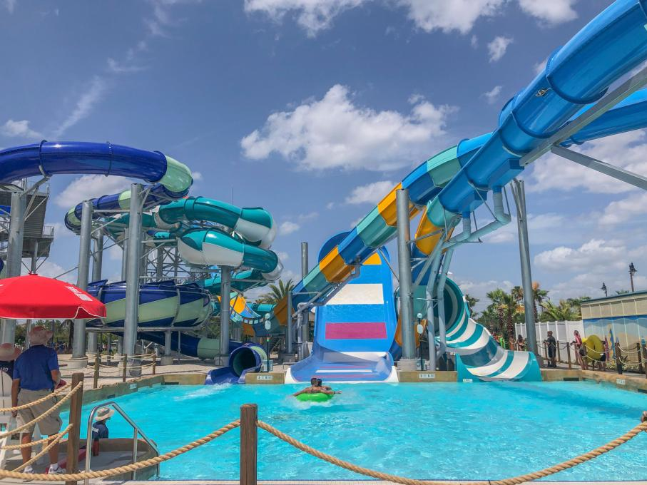 Pools and a waterslide at Island H20 Live!