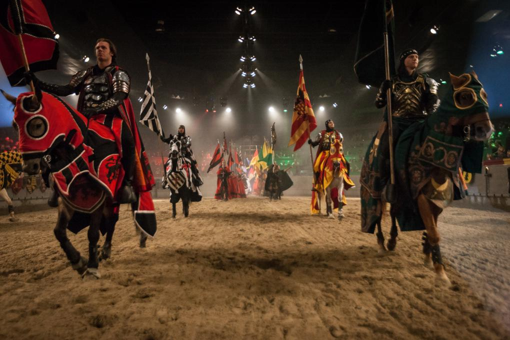 Knights ride horses at Medieval Times