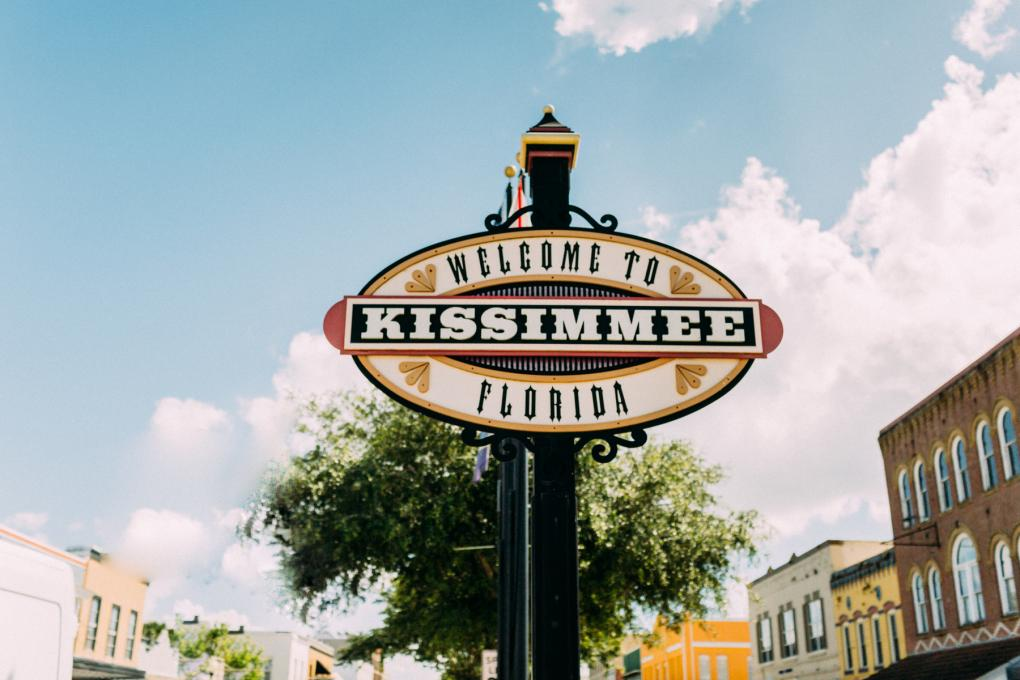 A sign reading Welcome to Kissimmee Florida in downtown Kissimmee