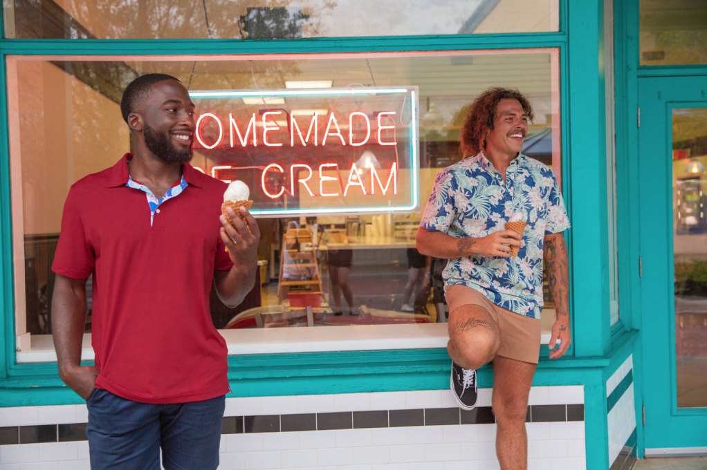 Chubbies models enjoy ice cream in Old Town Kissimmee