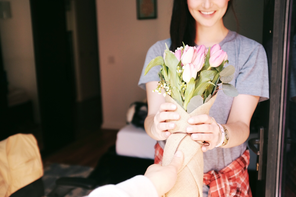 Women receiving flowers
