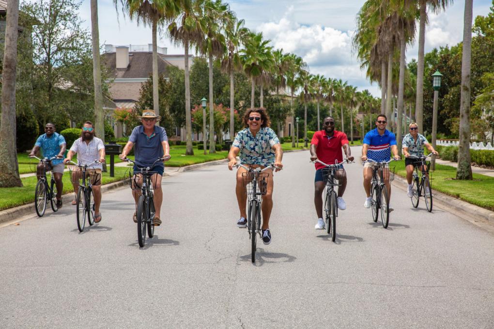 The Chubbies models bike through Kissimmee