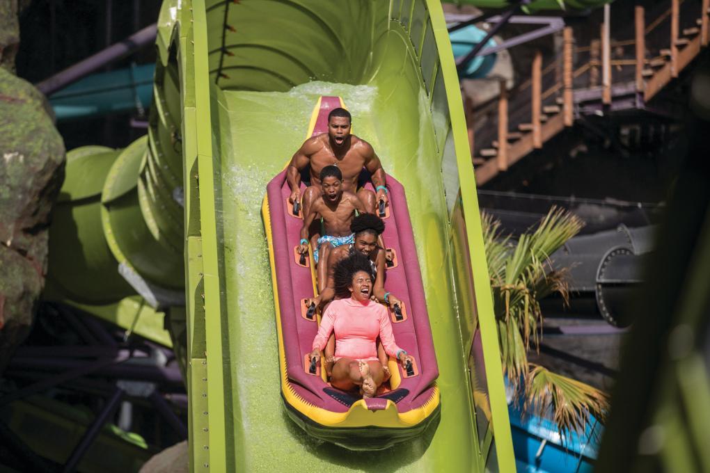 Family Riding Krakatau at Volcano Bay Water Park at Universal Orlando Resort