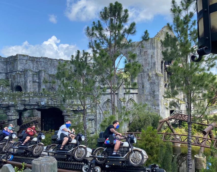 Guests ride Hagrid's Motorbike Adventure