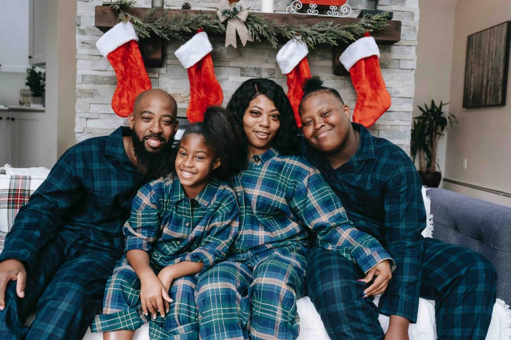 A family relaxes at their vacation home over the holidays