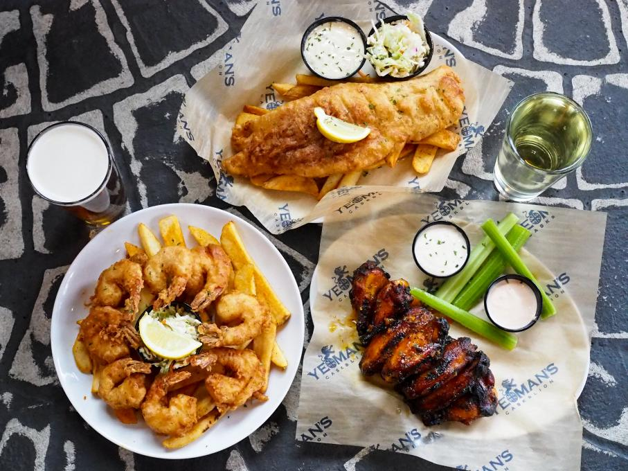 Fish and chips and side dishes at Yeoman's Cask & Lion, Kissimmee