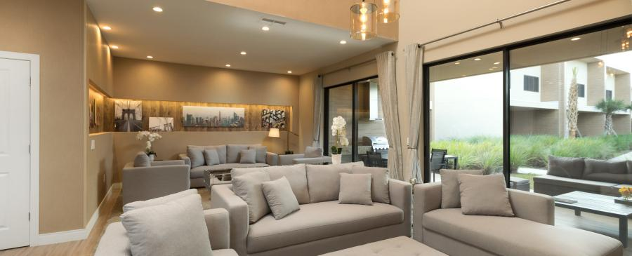 The three-bedroom villa living room area.