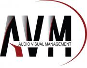 This is the Audio Visual Management logo which utilizes black, gray, and red graphics for branding.