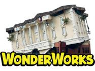 Logo of WonderWorks and the upside-down house.