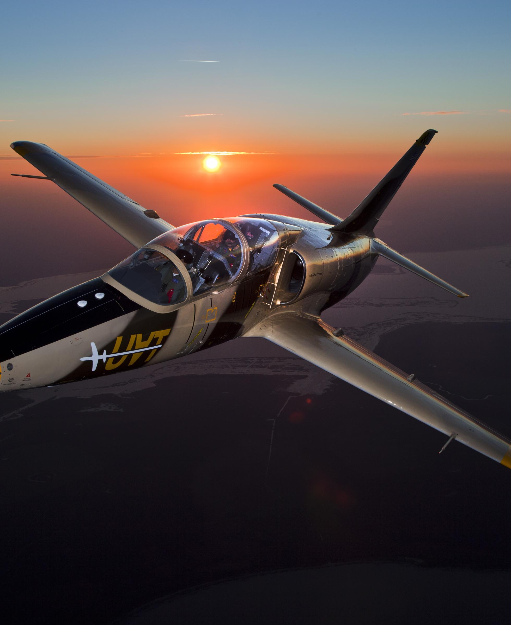 Jet fighter at Sunset