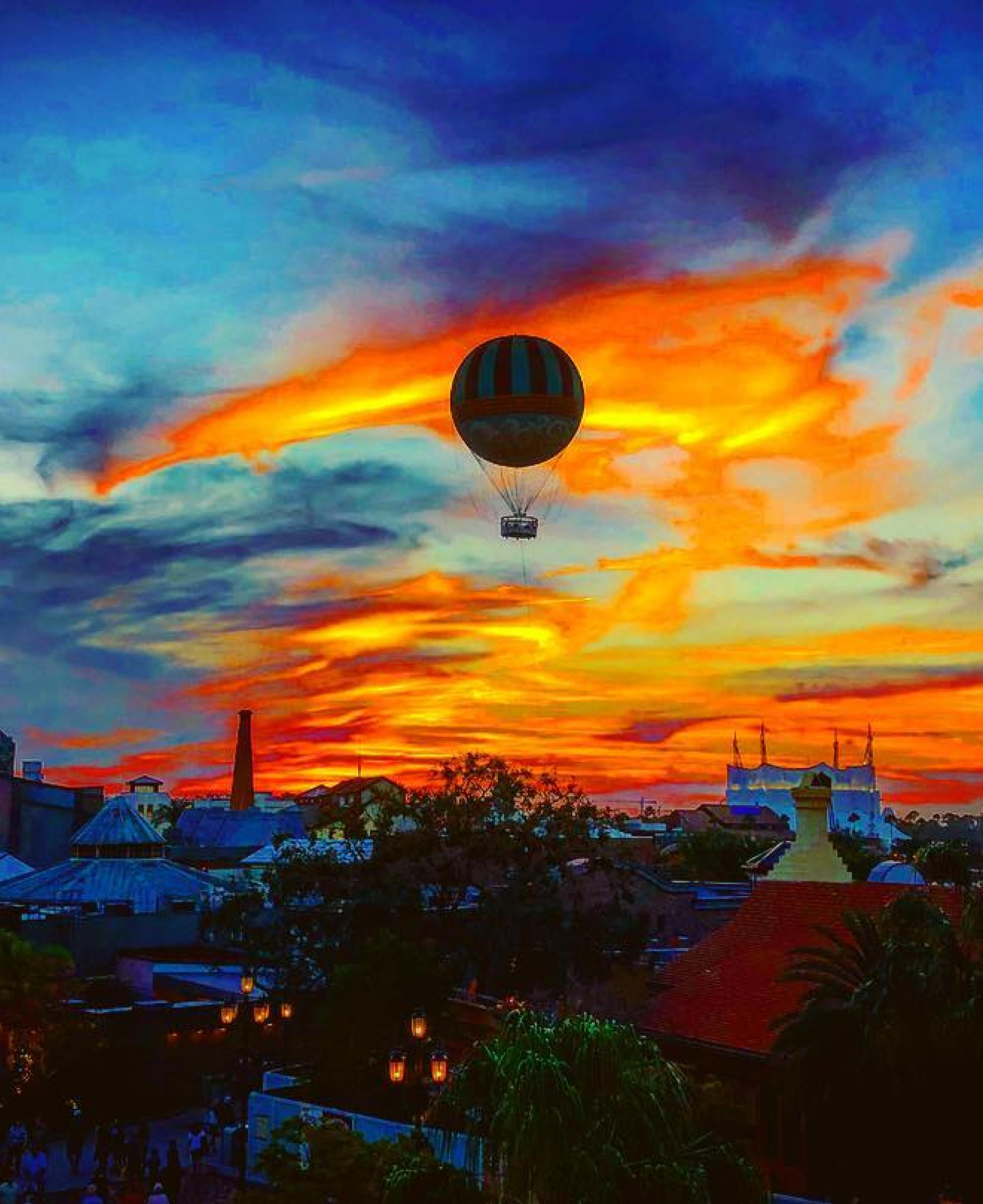 Sunset over Disney Springs by Instagram User @rymey23