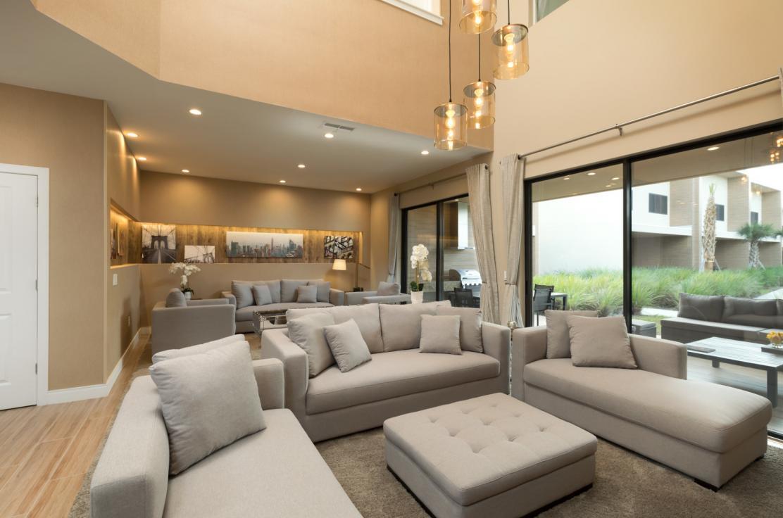 The three-bedroom villa living room