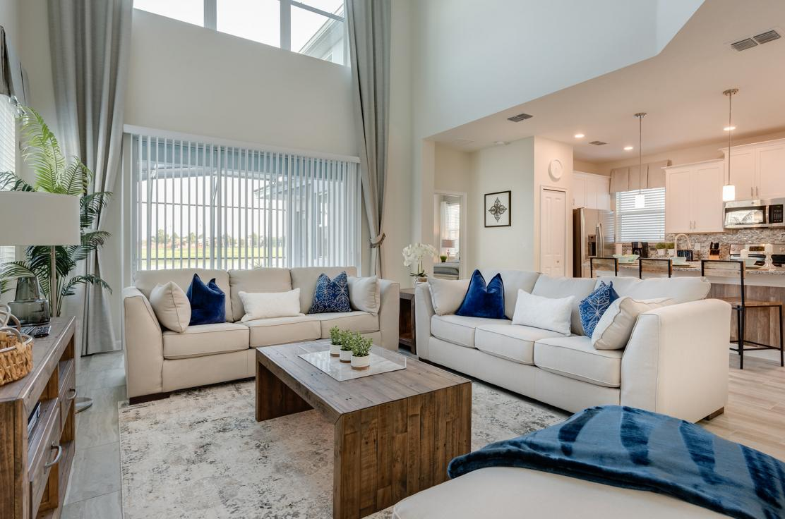 Amazing living room space in a 5 bedroom home at Storey Lake  resort.