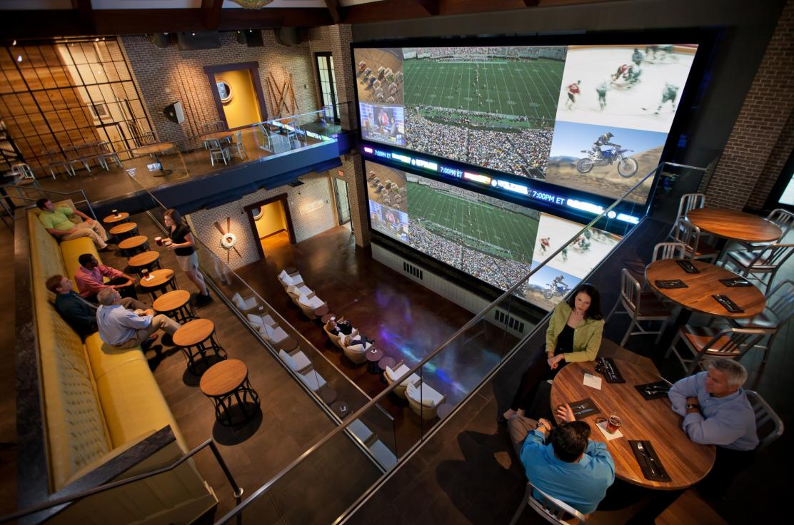 Two-story sports screens inside Wreckers