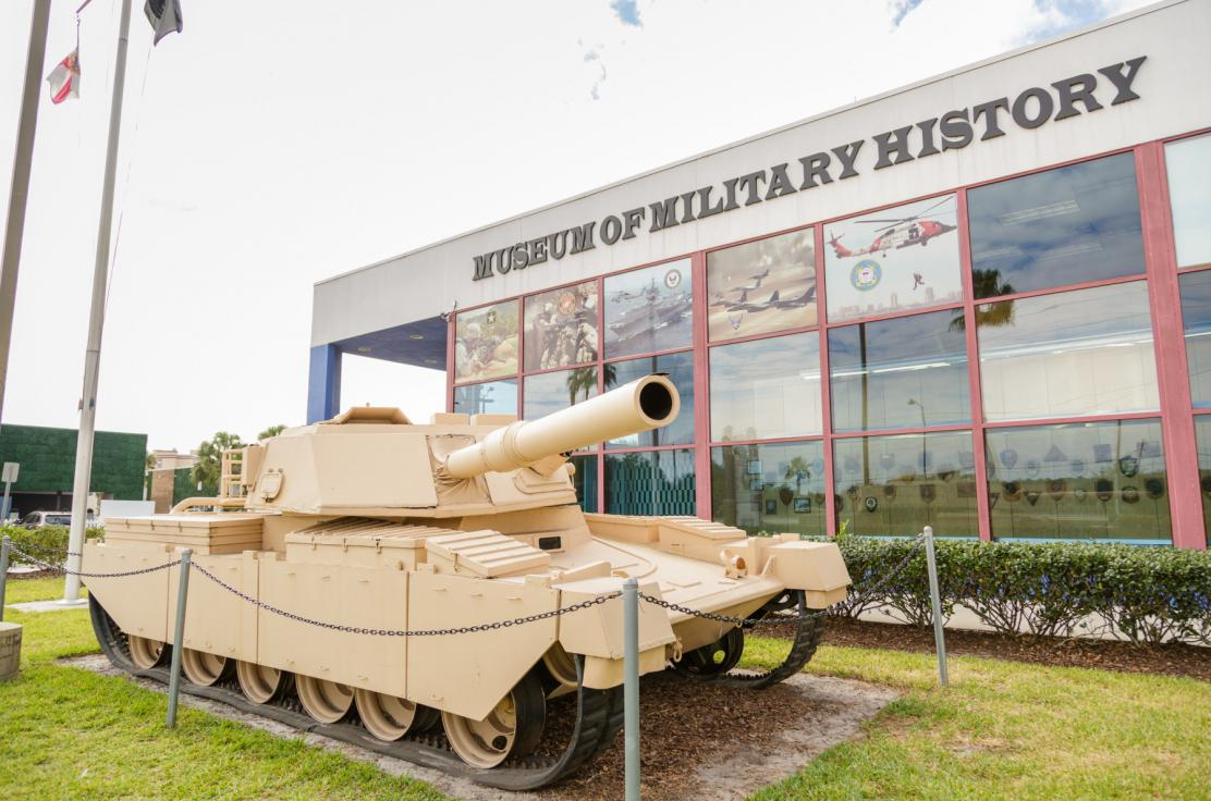 Visitors to the Museum of Military History are welcome by this unusual tank which is made of wood and originally was a prop for Halloween Horror Nights at Universal Orlando. Inside the Museum houses exhibits representing the Civil War up to current confli