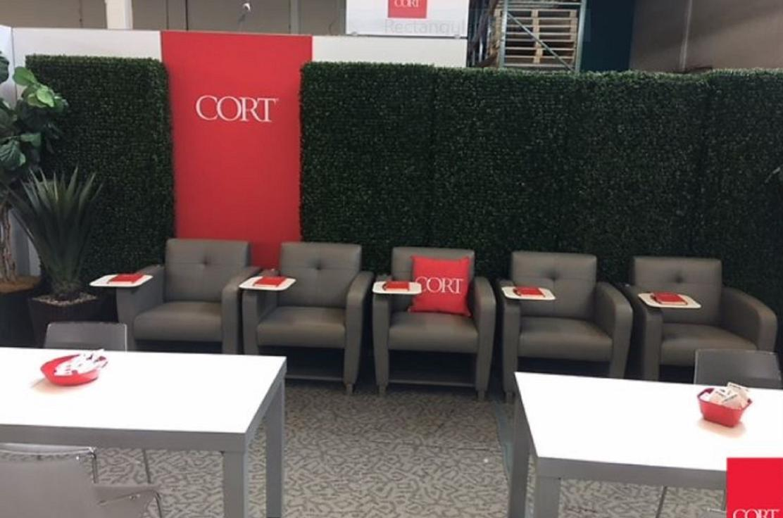 CORT events logos with Tech chairs and Communal tables