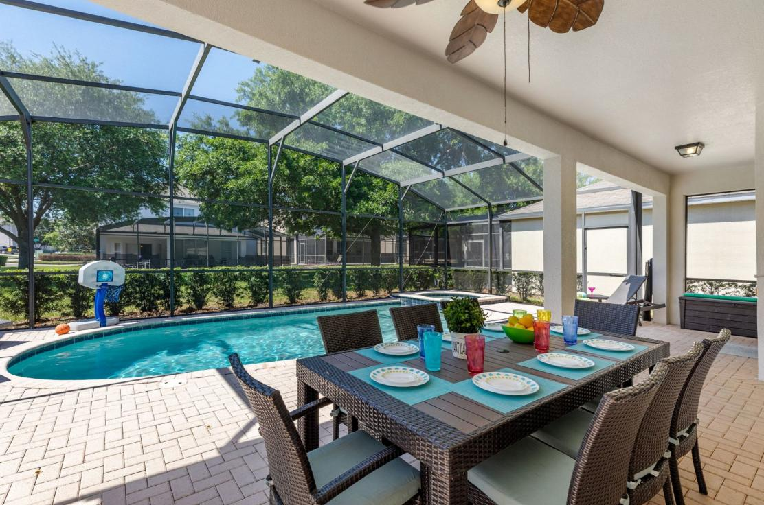 The lanai has dining for 8, privacy bushes, 4 lounge chairs & BBQ.