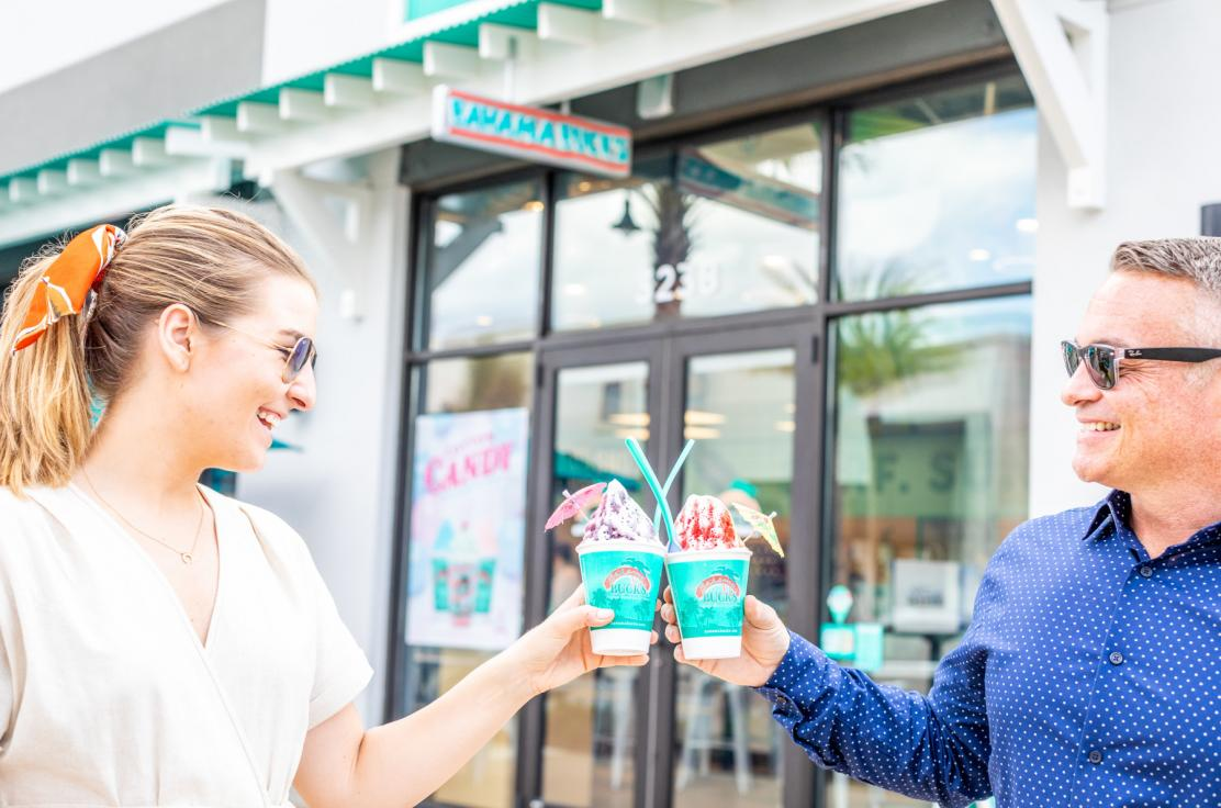 "Find your tropical escape in a scrumptious variety of shaved ice, smoothies, ""frostalattes"" and other delicious beverages at Bahama Buck's."