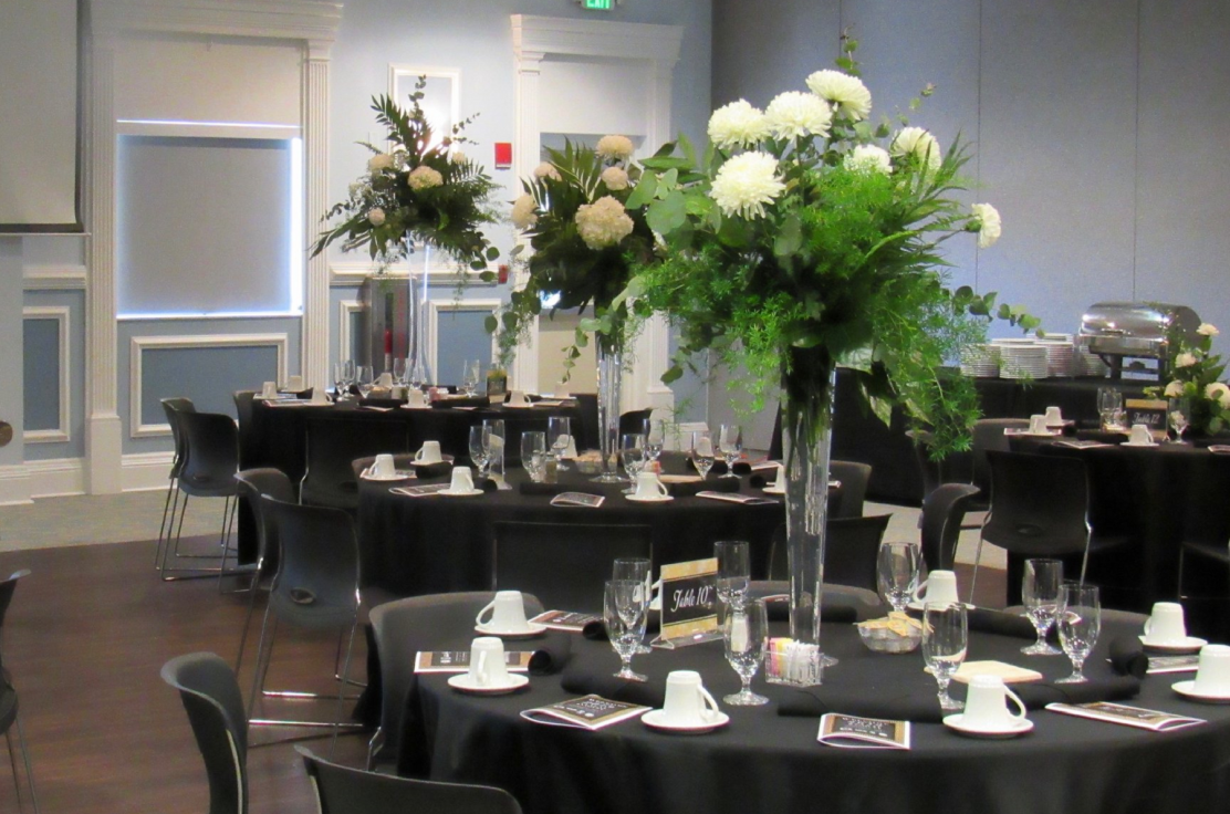 Wedding Reception Photo, Rounds with Floral Centerpieces.