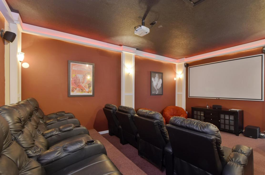Some of our homes feature movie theaters with projector screens.