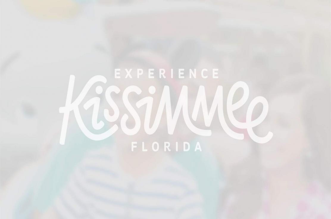 Semi-transparent Experience Kissimmee logo layered over a group of smiling women.