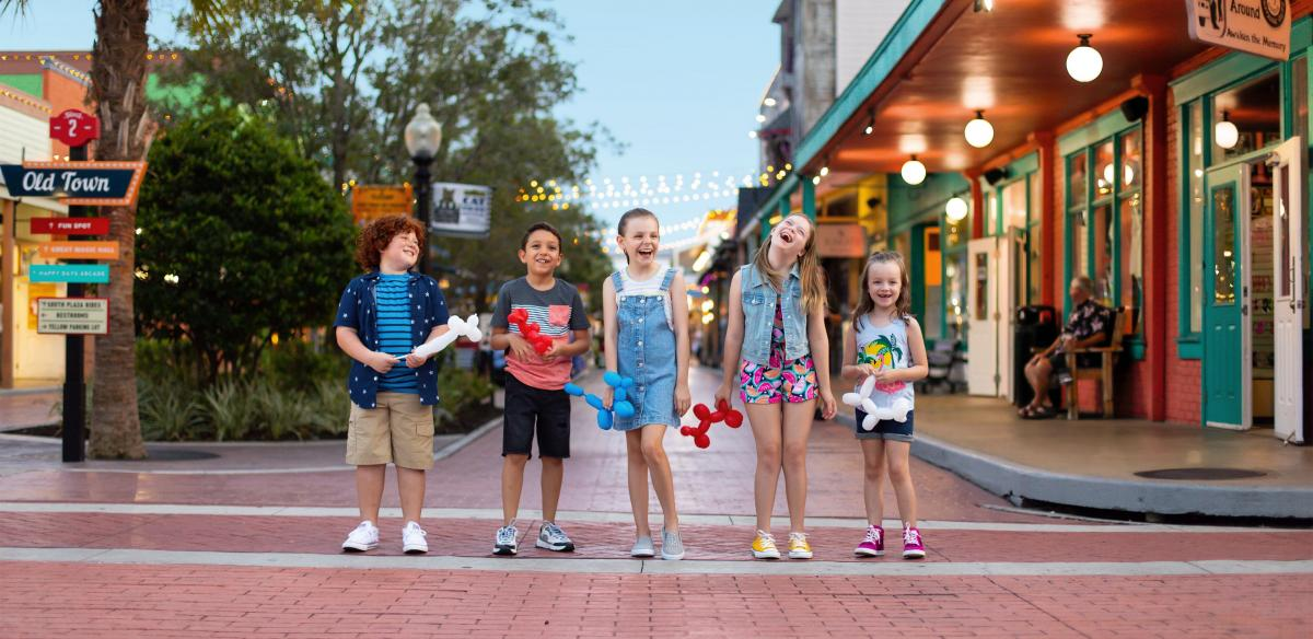 Kids lined up at Old Town