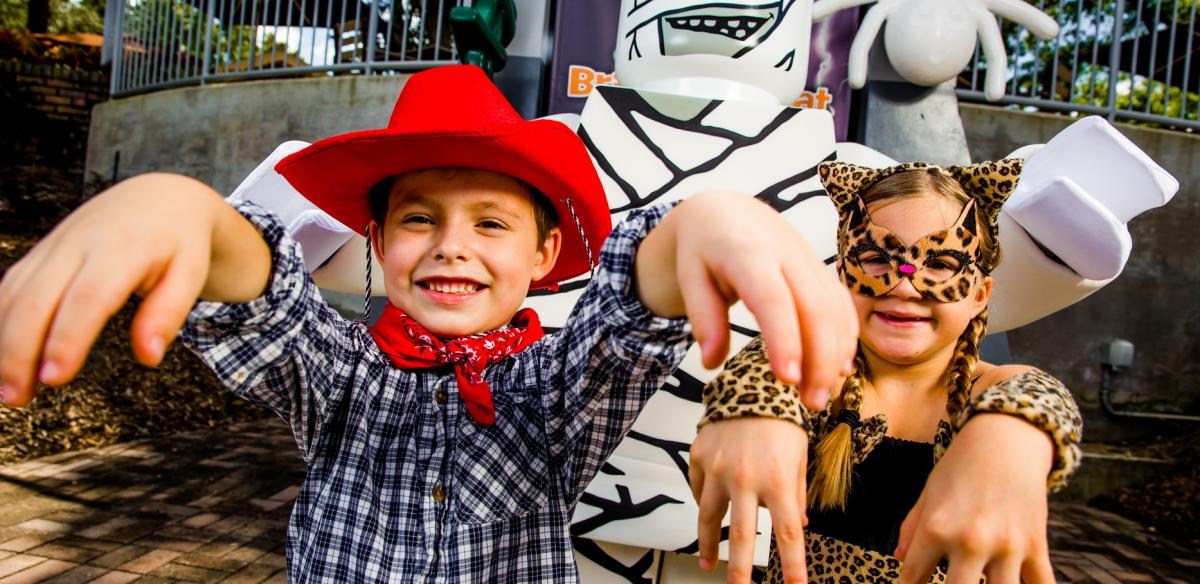 Kids in costumes for Halloween at LegoLand in Florida