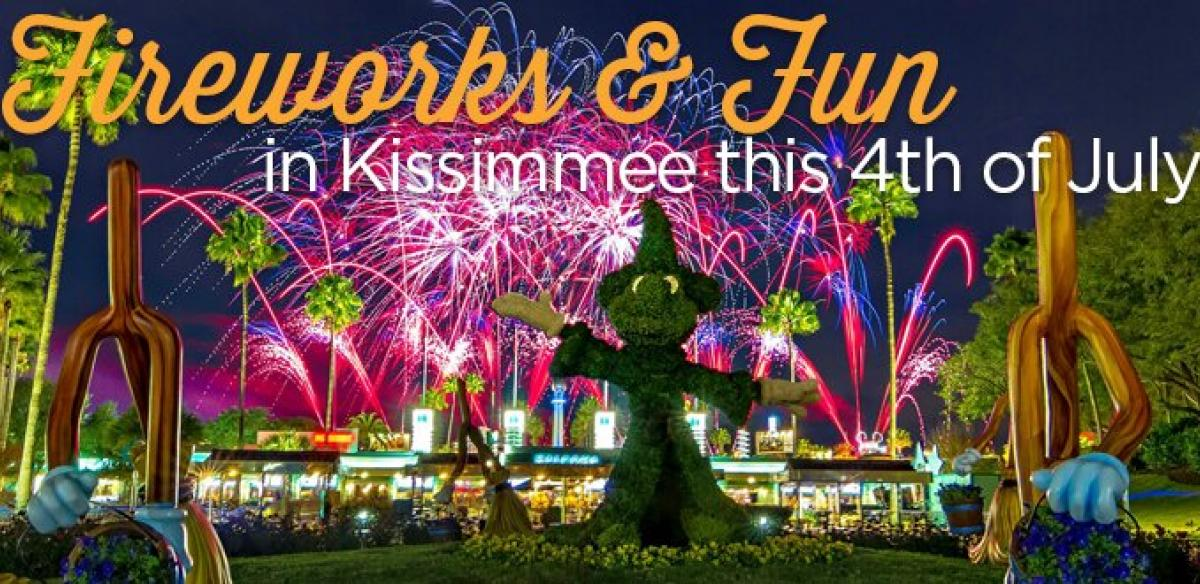 Three disney characters in a garden with blue flowers and multiple blue, pink, and purple fireworks going off in the sky.