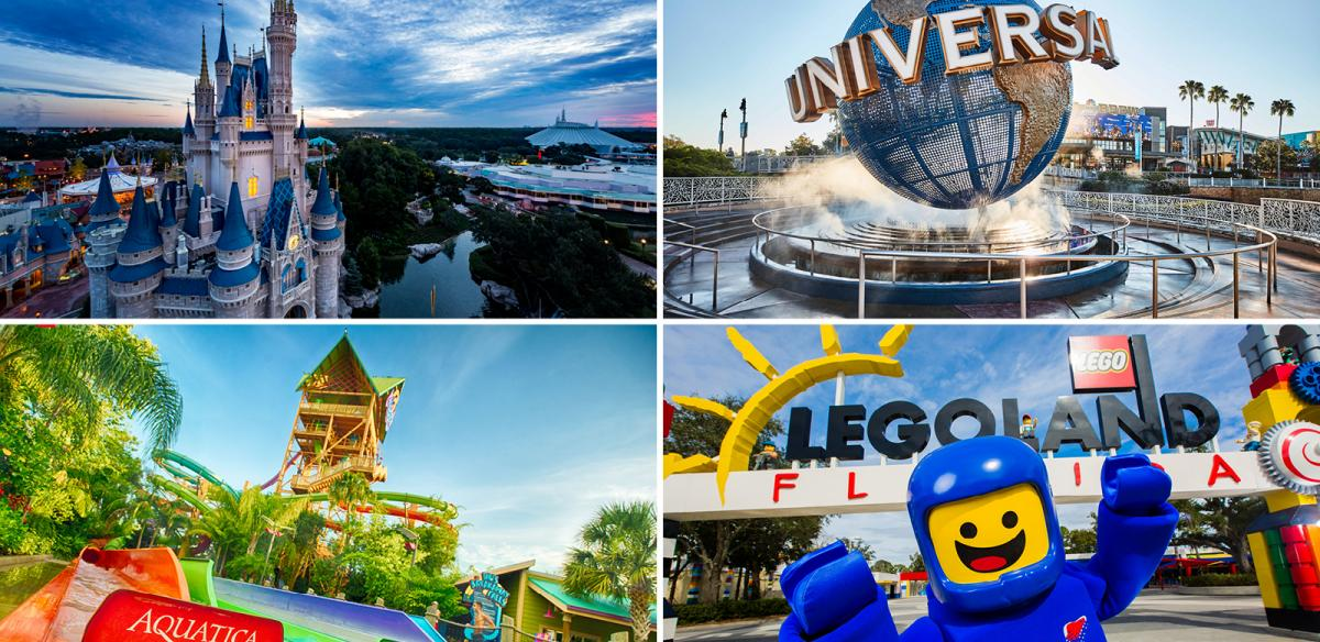Quadrant collage of Disney Castle, Universal Orlando, Aquatica and Legoland