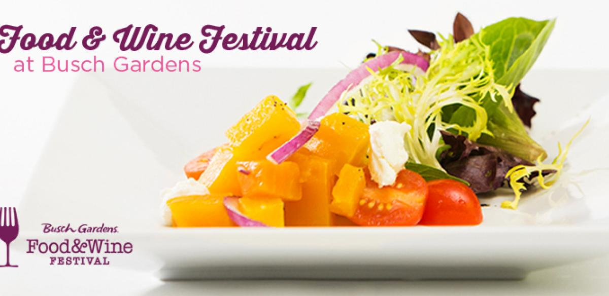 A banner ad for the food and wine festival at Busch Gardens.