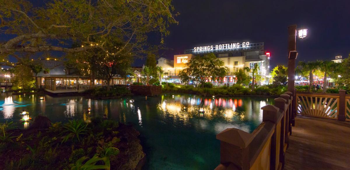 Disney Springs Bottling Co. in the Evening