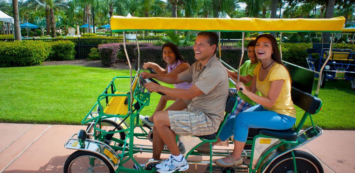 Family biking together.