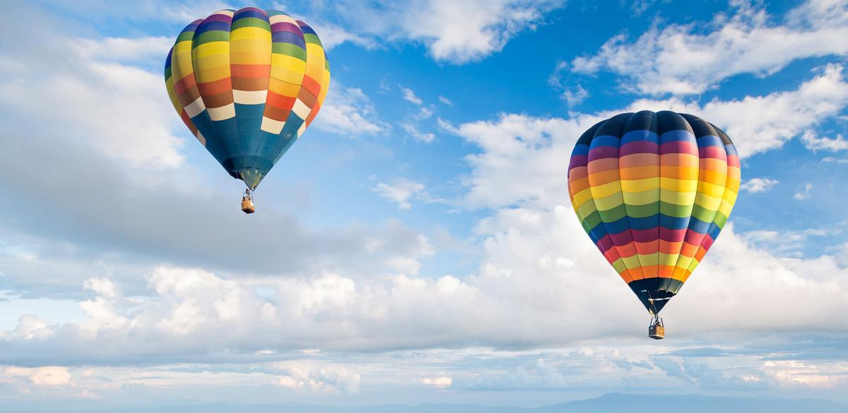 Hot air balloon ride in the sky.