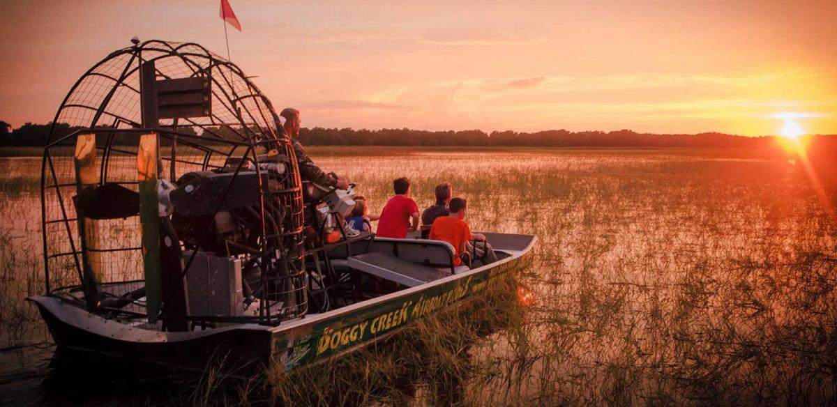 Boggy Creek Airboat Rides in Sunset