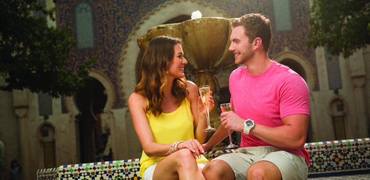 A couple toasting to romance