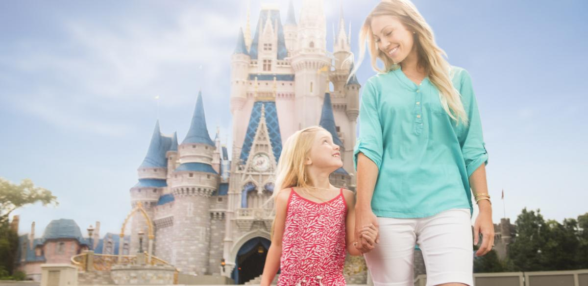 A child and her mother walk in the Magic Kingdom