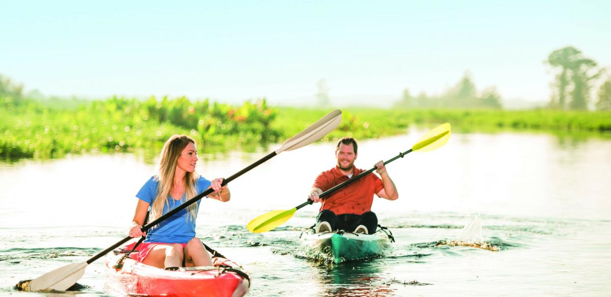 Couple kayaking in Kissimmee, Florida