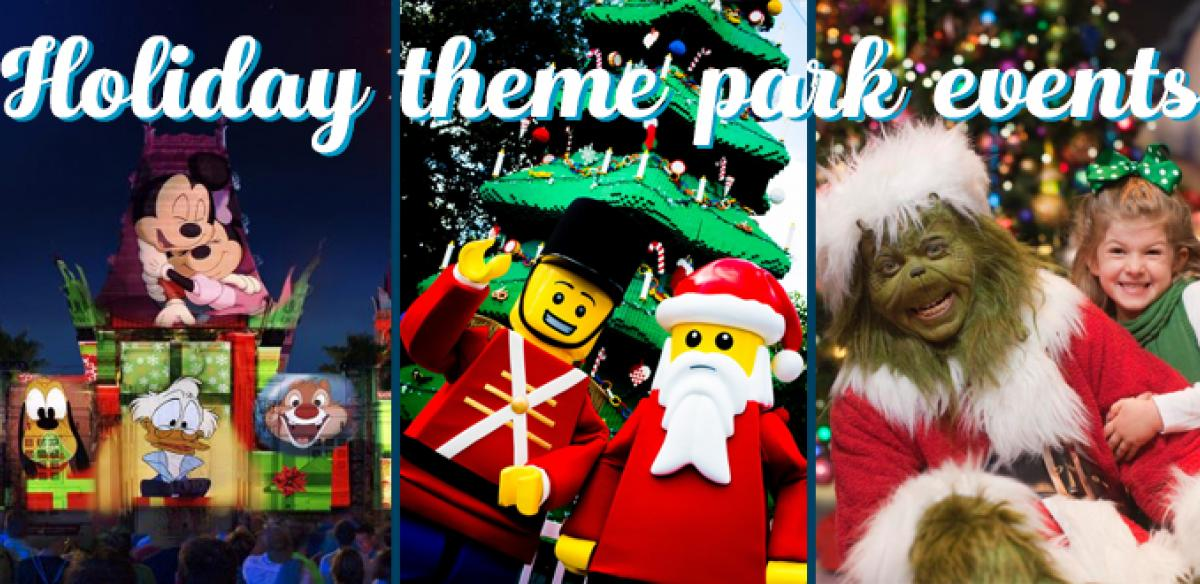 On the left are Disney characters, in the middle are LEGO characters as a soldier and Santa, and the Grinch on the right.