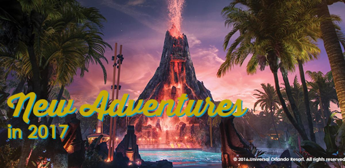 Volcano erupting at night with a pool, trees, and lights in front and