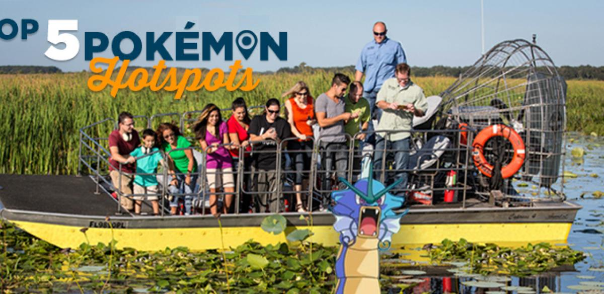 People on an airboat in a swamp with a Pokemon character in the foreground and