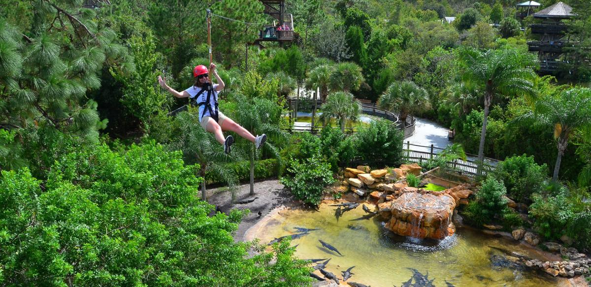 Girl on zipline.