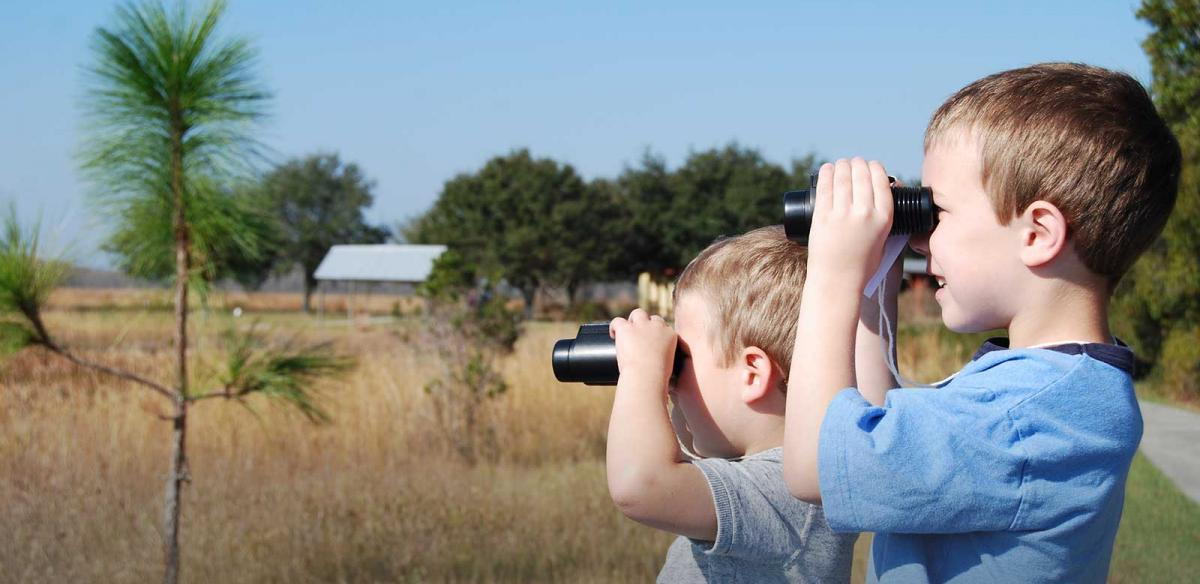 Two boys birding with binoculars at The Disney Wilderness Preserve