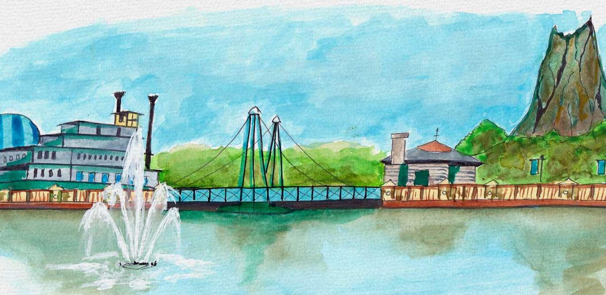 Watercolor painting of Disney Springs in Kissimmee, Florida