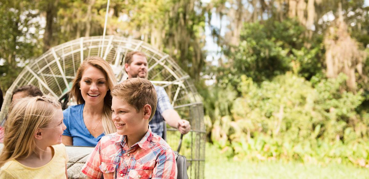 Family on an airboat.