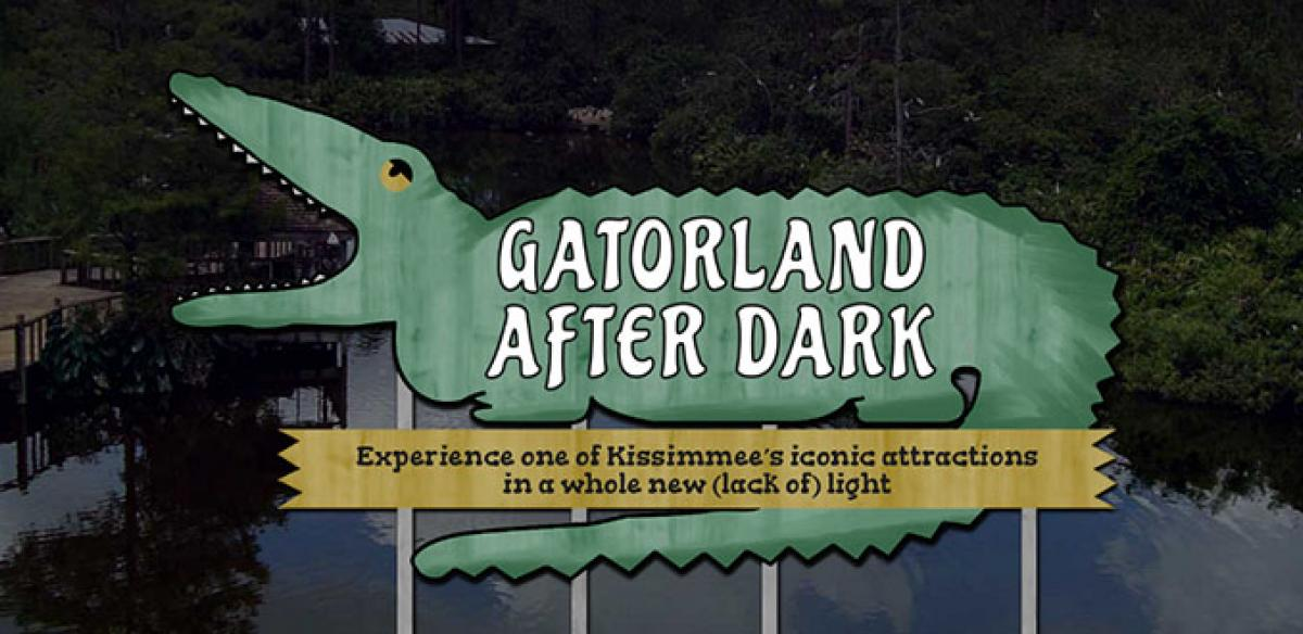 A sign in the shape of an alligator that reads: